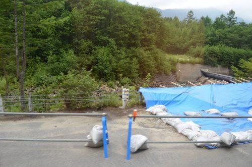 さらに大正池近くに発生した県道路肩の崩落現場