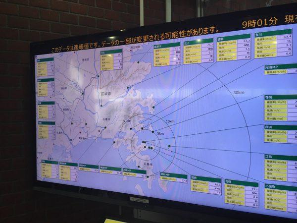 登米市役所でみた放射線量速報モニタ
